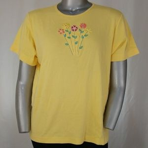 Yellow Embroidered Flower Short-Sleeve T-Shirt, 2X
